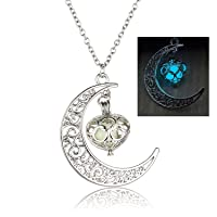 El Regalo Silver Alloy Glow In The Dark Moon with Hanging Heart Pendant Necklace for Women
