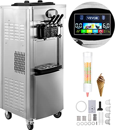 VEVOR 2200W Commercial Soft Ice Cream Machine 3 Flavors 5.3 to 7.4Gallon per Hour PreCooling at Night Auto Clean LCD Panel