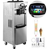 VEVOR 2200W Commercial Soft Ice Cream Machine 3 Flavors 5.3 to 7.4Gallon per Hour PreCooling at Night Auto Clean LCD…