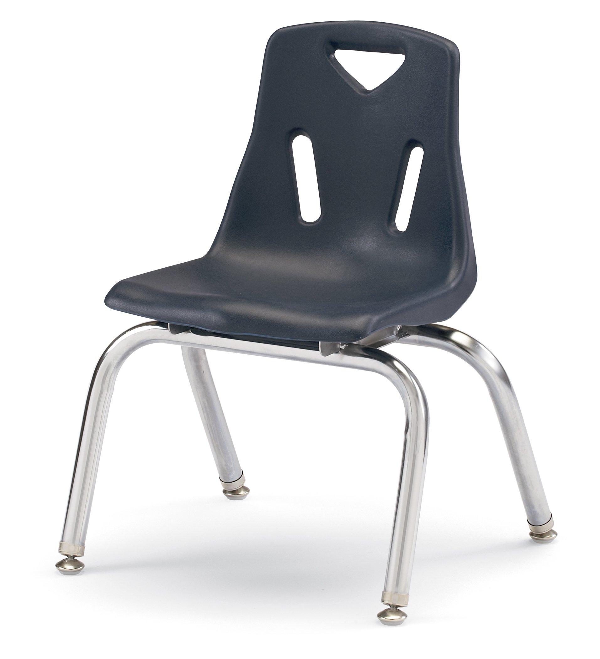 Jonti-Craft Berries 21.5 in. Plastic Kids Chair w Chrome-Plated Legs (12 in. H. - Navy) by Jonti-Craft