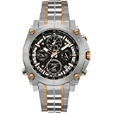 Bulova Men's Designer Chronograph Watch Stainless Steel Bracelet - Two Tone Rose Gold Precisionist Wrist Watch 98G256