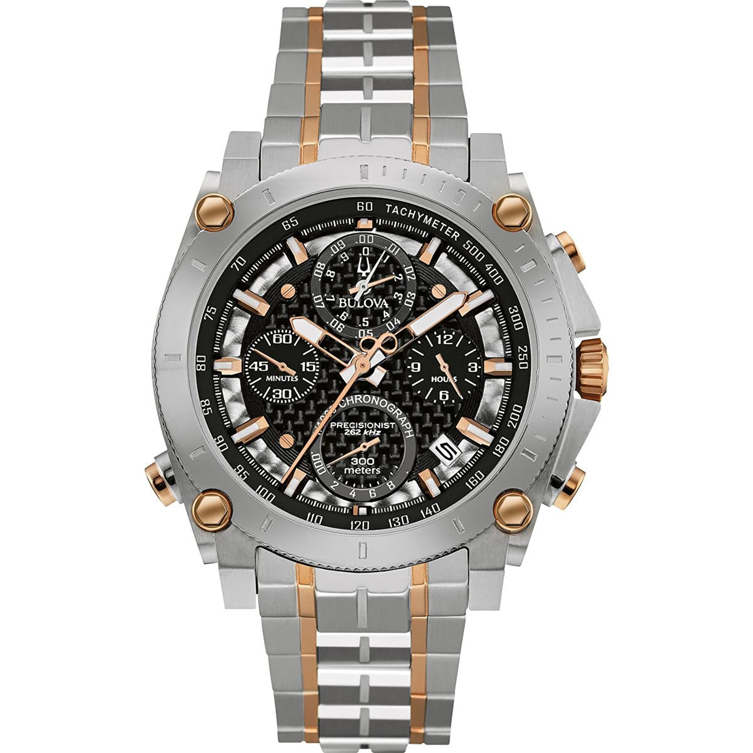 amazon co uk bulova watches bulova men s designer chronograph watch stainless steel bracelet two tone rose gold precisionist wrist watch