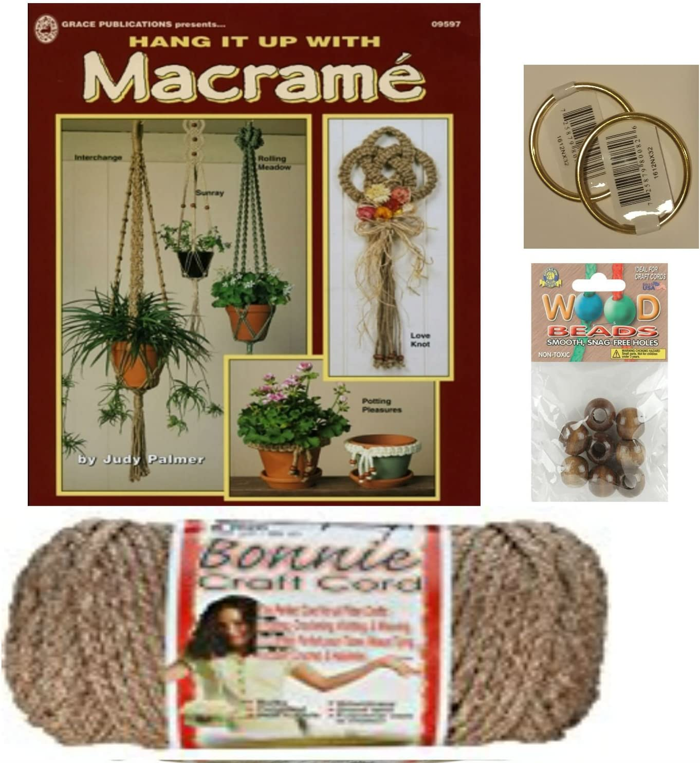 and Project Book for Plant Hangers and Wall hangings Wooden Beads Macrame kit Bundle with Craft Cord Rings Natural Cotton