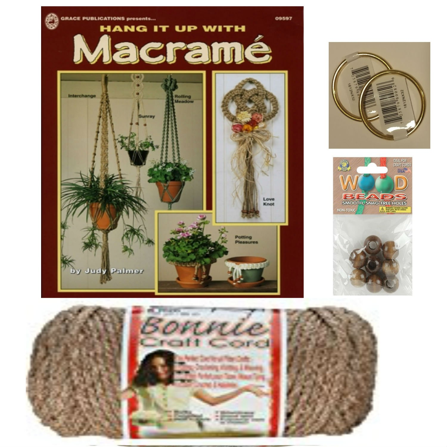 Macrame kit Bundle with Craft Cord, Wooden Beads, Rings, and Project Book for Plant Hangers and Wall hangings (Pottery) Gideons Goods