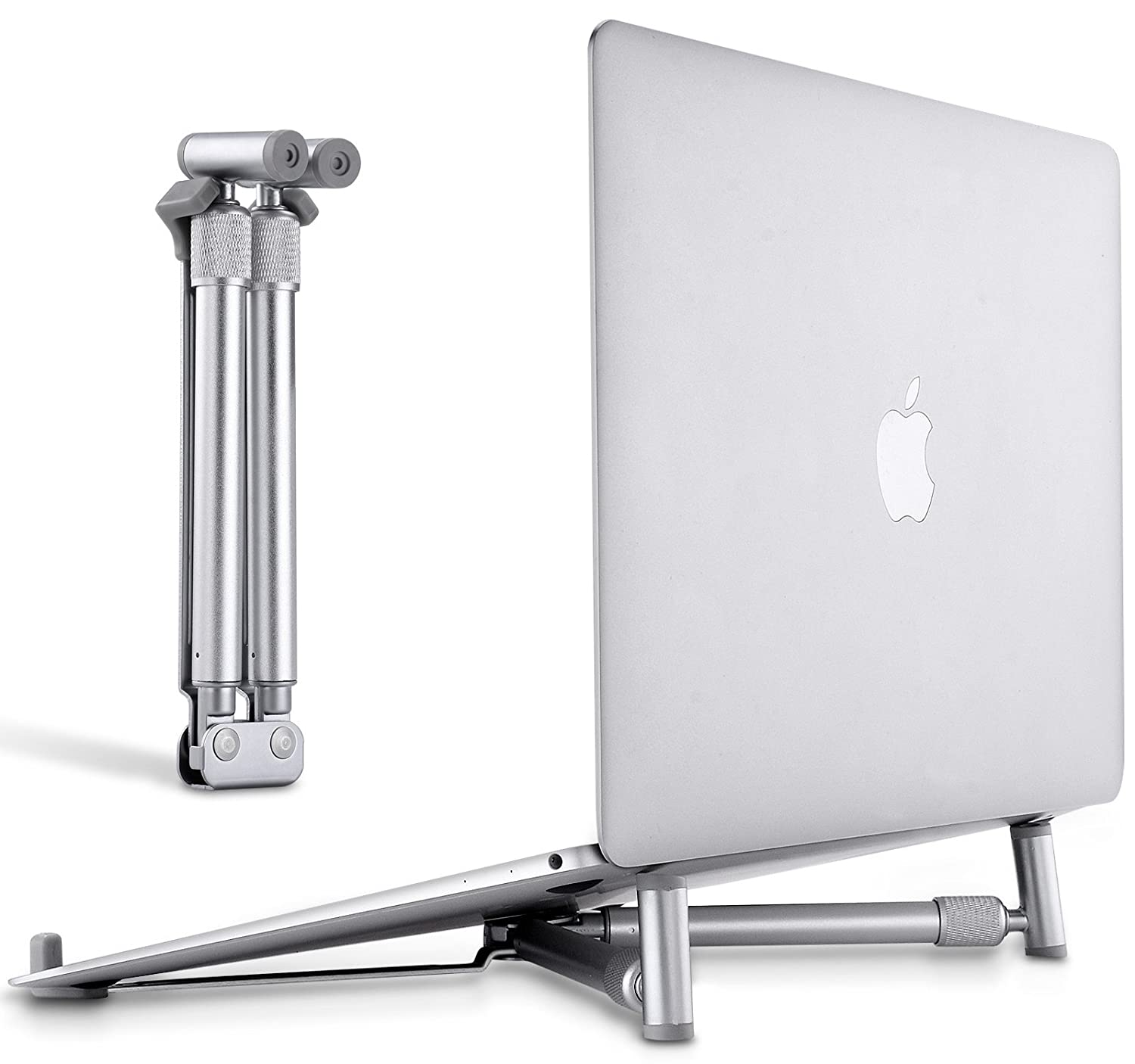 "JUBOR Laptop Base Stand for MacBook Pro Computer Lap Notebook, Adjustable Laptop Riser Cooling Aluminium Ventilated Portable Foldable Ergonomic Holder for 12"" 13"" 15"" 17"" Screen"