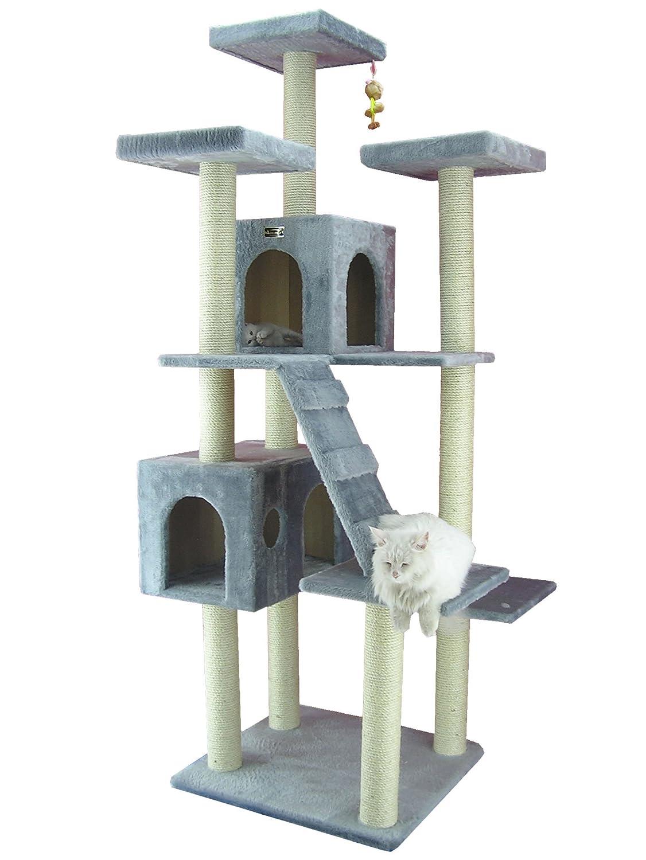 Megagroßer Kratzbaum AC7701S 1,99 Meter hoch mit 2 großen Katzenhäusern und Katzentreppe in Farbe Grau