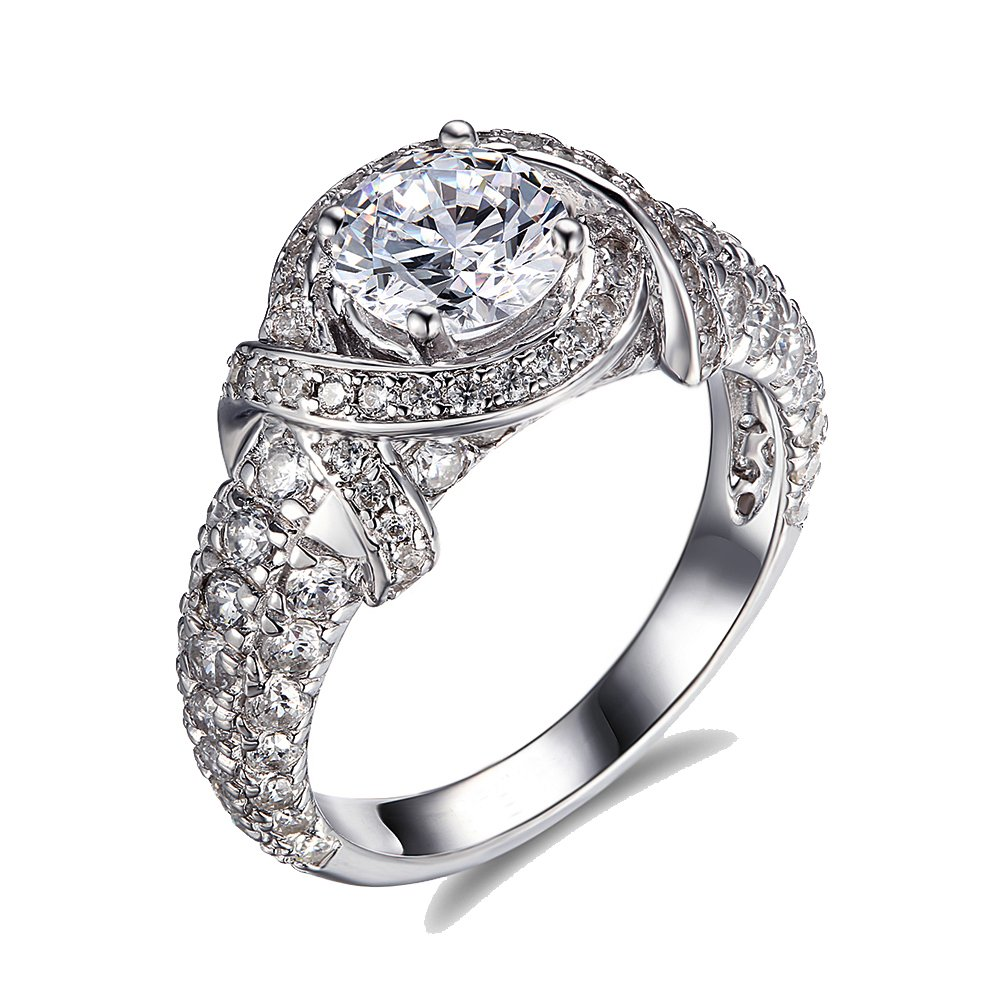 Lourve 14k White Gold Plated 925 Sterling Silver Engagement Ring Round Cut CZ Simulated Diamond Her Highness (5.5, cubic-zirconia)