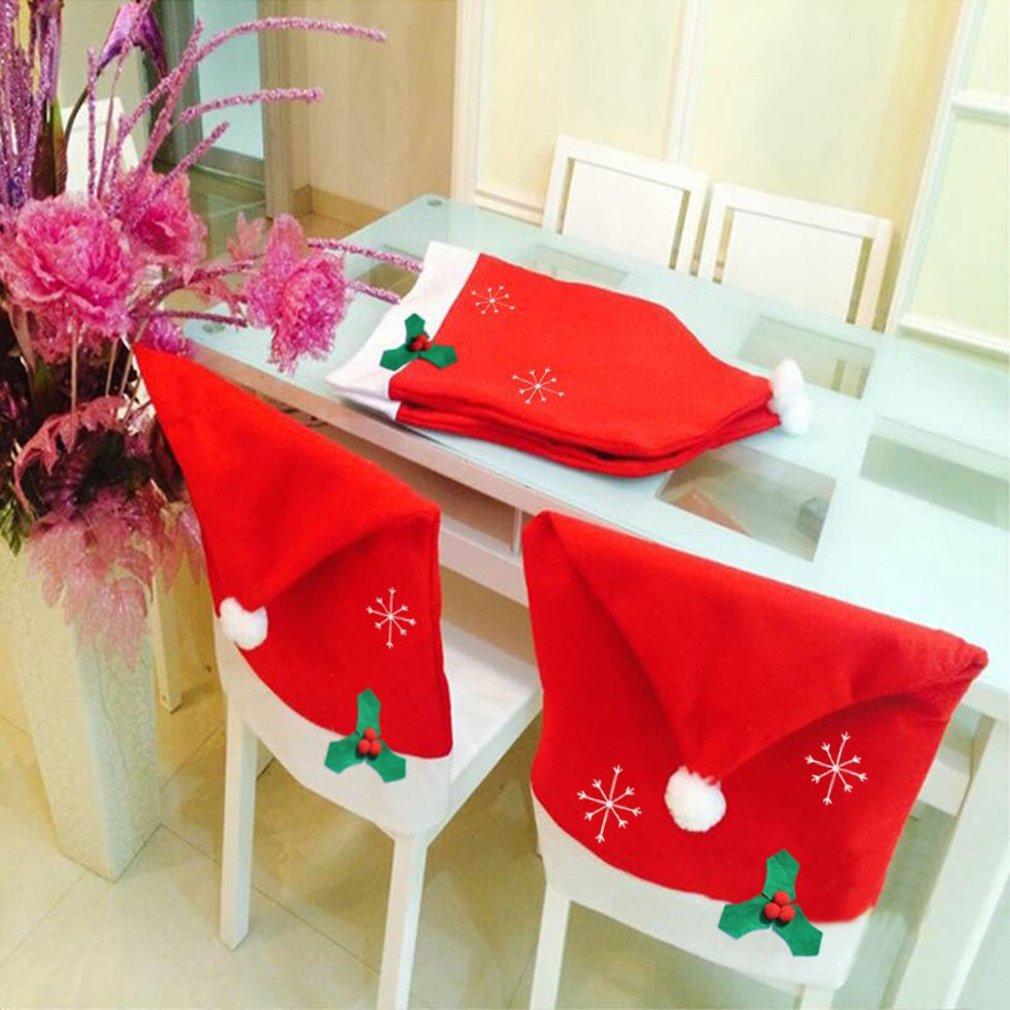 FairytaleMM 1 Stü ck Weihnachtsmann Red Hat Sets Vlies Schneeflocke Stuhlhussen Mode Geschenk Weihnachten Liefert 50 * 65 cm, rot