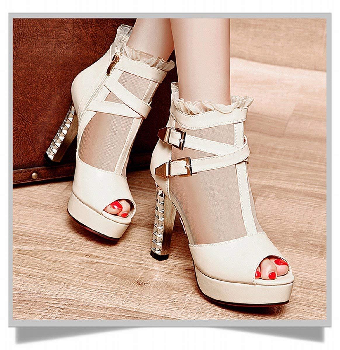 Oudan Roma mit Die Sandalen der Herr high-Heeled Aufsatz Aufsatz Aufsatz von Fisch Schuhe Schuhe Martin (Farbe   Beige, Größe   35) 38ca01