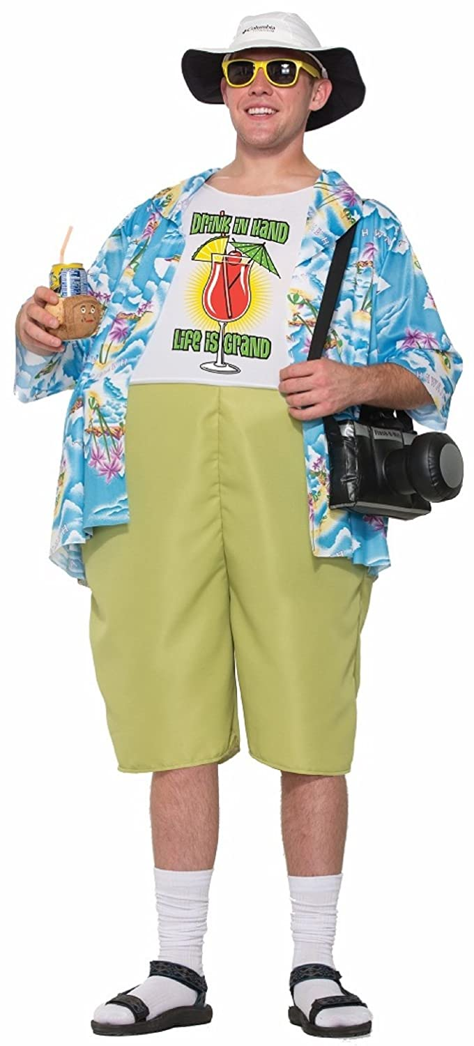 0c6b24384f3c 2-Piece costume includes hawaiian-style shirt and printed tank top with  attached shorts. Costume features a hoop waist. Unisex costume; one size  fits most.