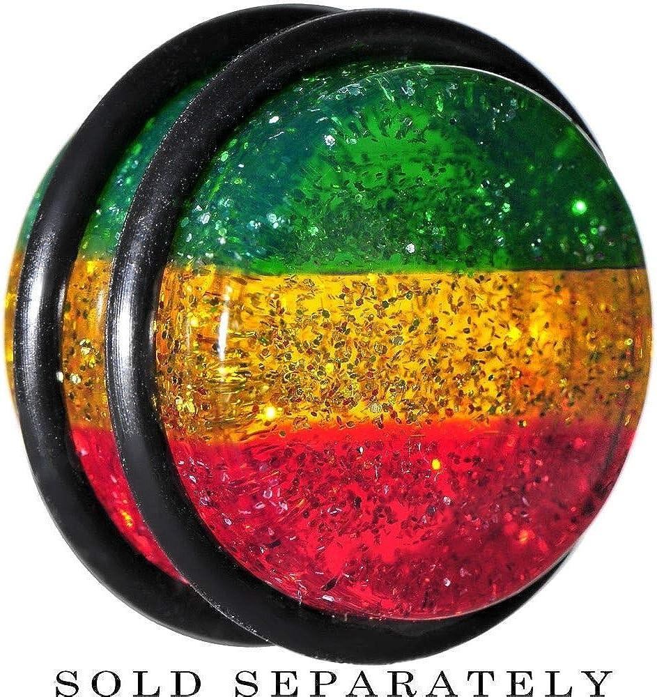 yati/_bo 1 Pcs 18mm Red Yellow Green Acrylic Rasta Glitter Single Flare Plug