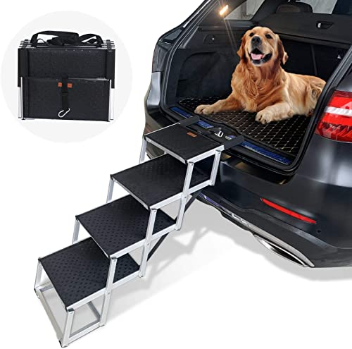 Heeyoo Folding Dog Car Steps, Portable Aluminum Fram Large Dog Stairs for High Beds, Trucks, Cars and SUV, Lightweight Foldable Pet Ladder Ramp with Nonslip Surface Can Support 150-200 Lbs Large Dog