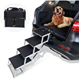 Heeyoo Folding Dog Car Steps, Portable Aluminum Fram Large Dog Stairs for High Beds, Trucks, Cars and SUV, Lightweight…