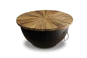 plus récent 01335 0f21e Meubletmoi Table Basse Ronde en Teck et Forme Demi-sphère en alu - Design  Industriel et Ethnique - Kumi