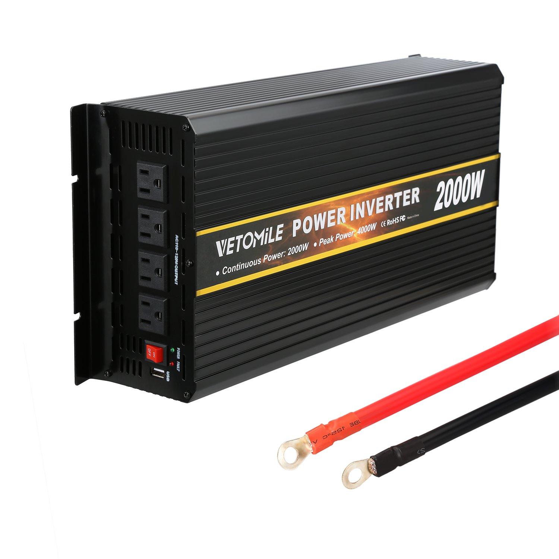 VETOMILE 2000W Power Inverter Emergency Backup 12V DC to 110V AC Peak 4000W Converter with USB Port 4 AC outlets Built-in Fuse