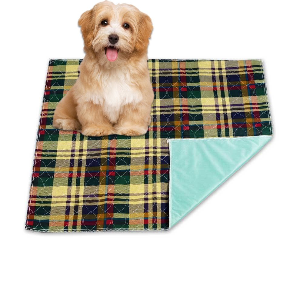 Reusable Washable Waterproof Pet Mat and Potty Training Mat For Housebreaking Your Pet - Soft Quilted Cotton Pet Mat With Bold Colors - Machine Washable And Dryer Friendly - Large 36'' x 34'' Size