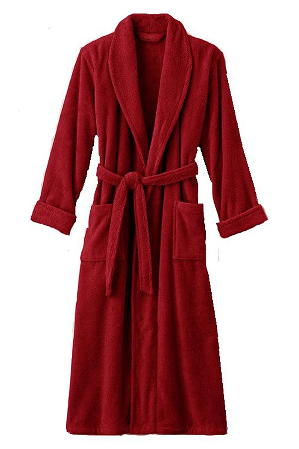Mens and Womens XXXL Hooded Red Terry Bathrobe. Full Length 54 Inches 5lb Heavyweight SCLP1654RED