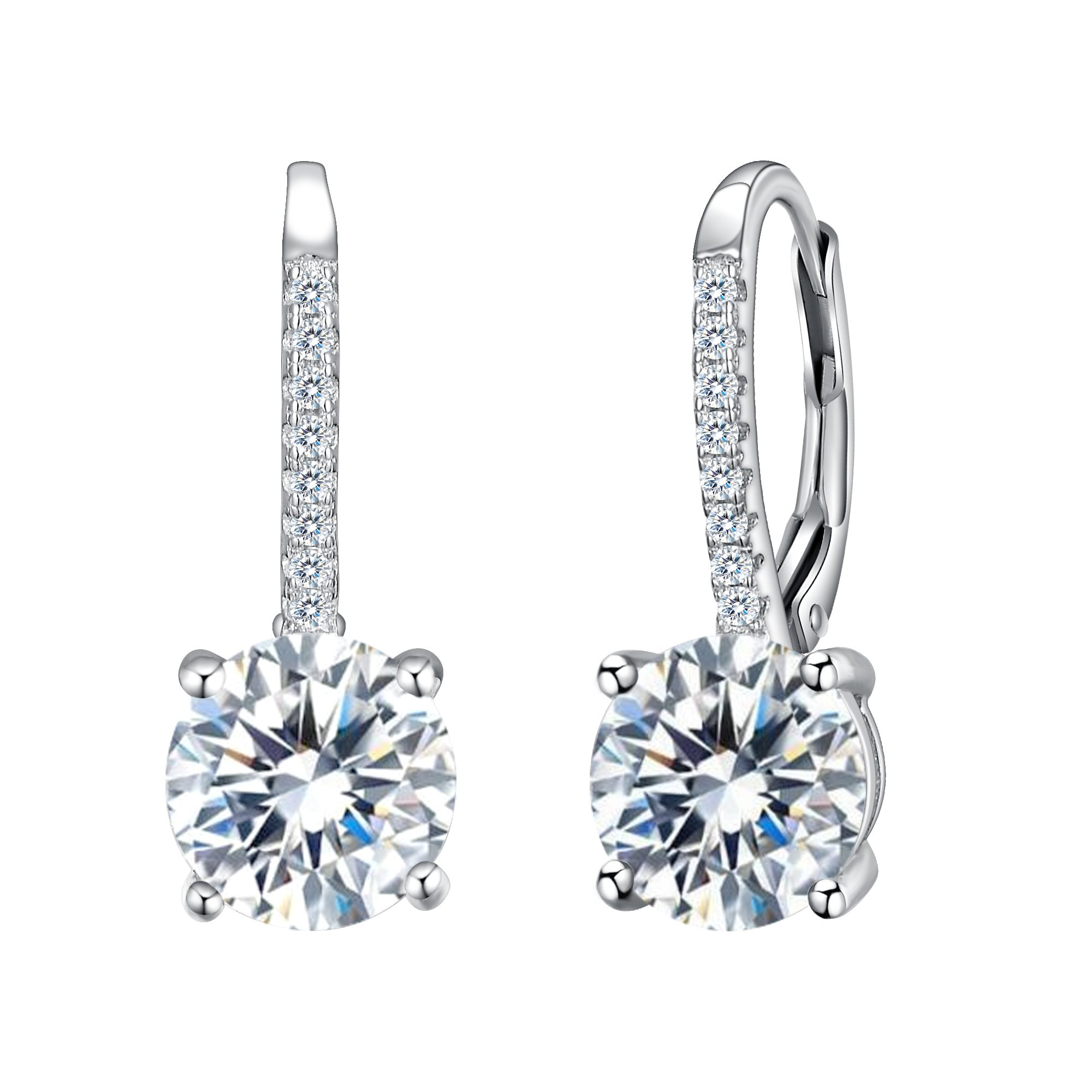 d85c8f523 EVER FAITH 925 Sterling Silver Round Cut CZ Prong Setting Gorgeous Bridal  Prom Leverback Dangle Earrings