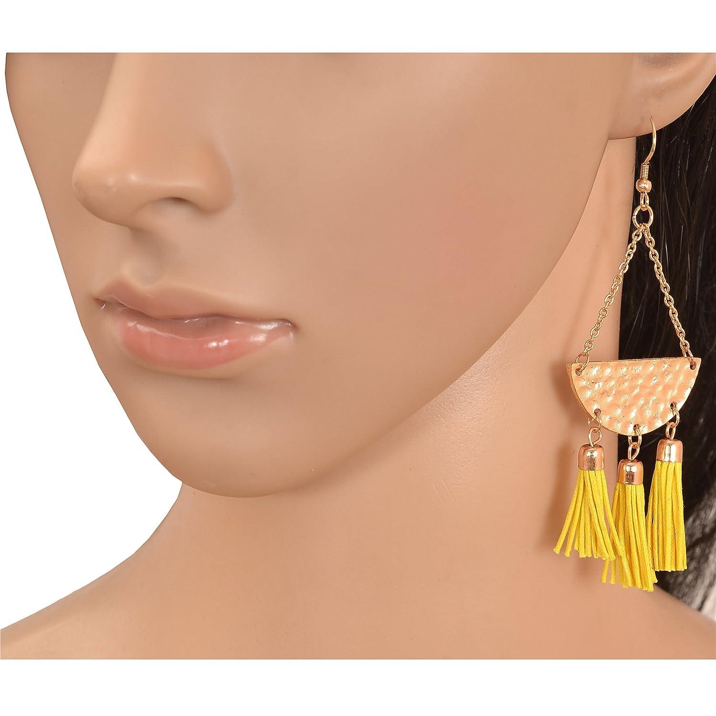 Oreleaa Fashion Lightweight Hook Dangler Copper Tone Tassels Earrings For Girls