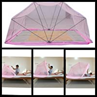 "Comfort Mosquito NET Foldable, Pink Single Size Bed- 3"" X 6.5"""