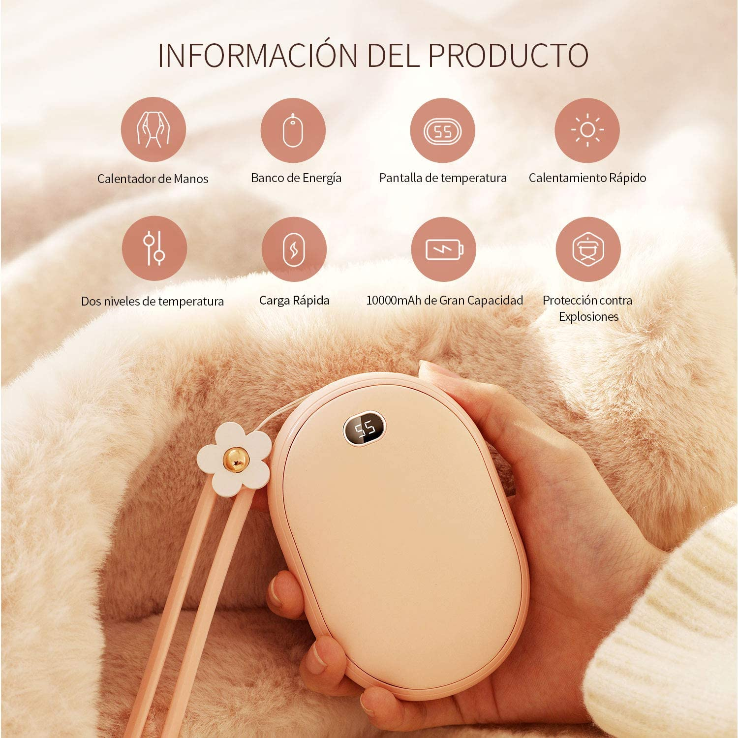 Best Gift For Women,Men,Kids in Cold Winter,Real-time temperature display SmartDevil 10000mAh USB Hand Warmers Electric Rechargeable Pocket Hand Heater Fast Heating Power Banks for All Smartphones