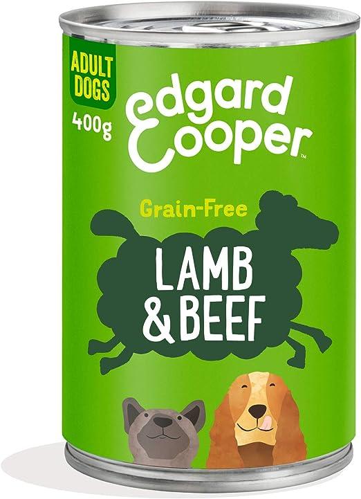Edgard & Cooper Comida humeda Perros Adultos sin Cereales, Natural con Cordero y Ternera. Alimentación balanceada y Sana con proteinas y aminoácidos. ...