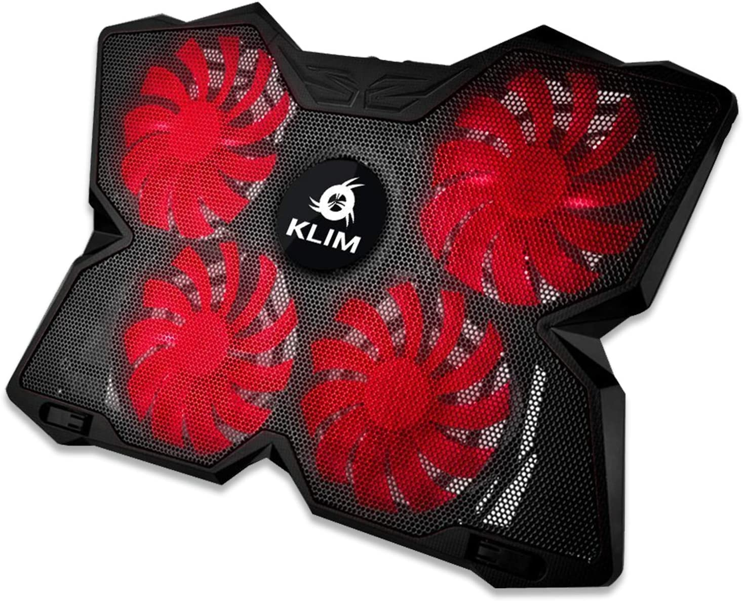 KLIM Wind Laptop Cooling Pad - Support 11 to 19 Inches Laptops, PS4 - [ 4 Fans ] - Light, Quiet Rapid Cooling Action - Ergonomic Ventilated Support - Gamer USB Slim Portable Gaming Stand - Black