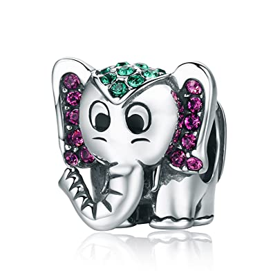 d854cc32e Image Unavailable. Image not available for. Color: Lucky Elephant Charm  Cute Animals Enamel Charms fit Pandora Bracelet Necklaces Jewelry Birthday  Gifts