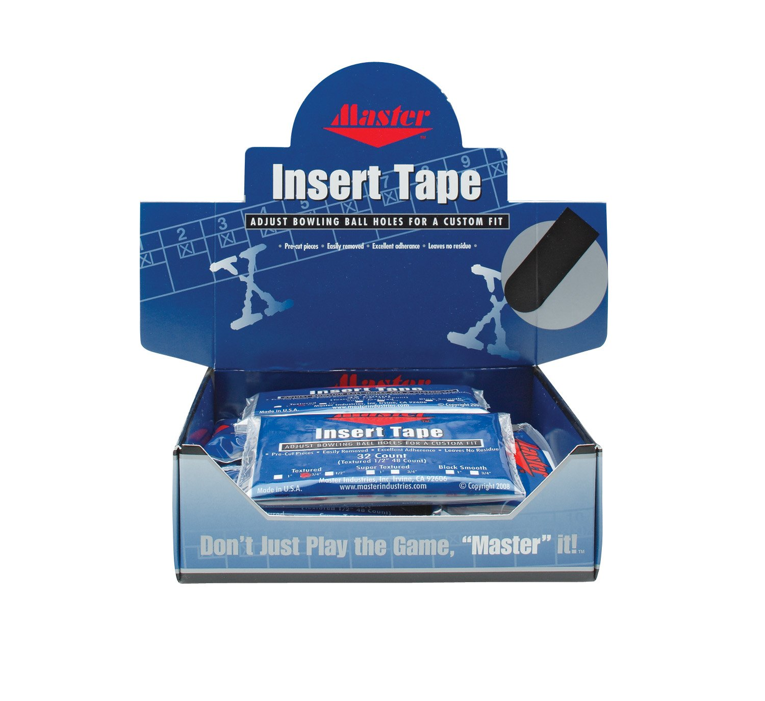 Master Industries Pre-Cut Bowlers Insert Tape (12 Count), Black, 3/4-Inch by Master Industries