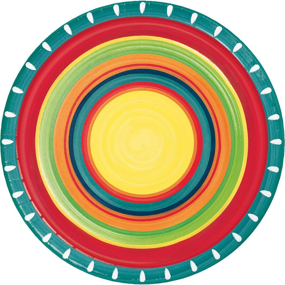 Summer Stoneware Fiesta Party Supply Bundle with Paper Plates and Napkins for 8 Guests by Creative Converting (Image #2)
