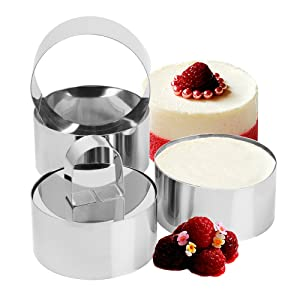 Set of 2 - Round Stainless Steel Small Cake Rings, Mousse and Pastry Mini Baking Ring Mold with Pusher