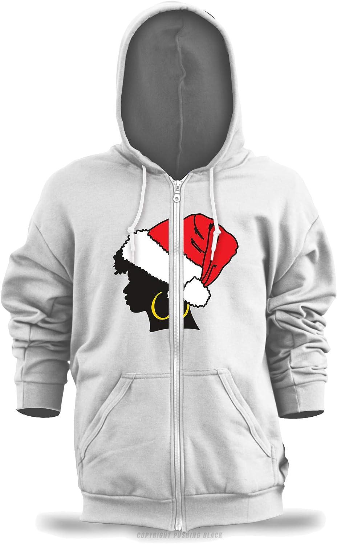 PUSHING BLACK Afro Christmas Unisex Zipper Hoodie