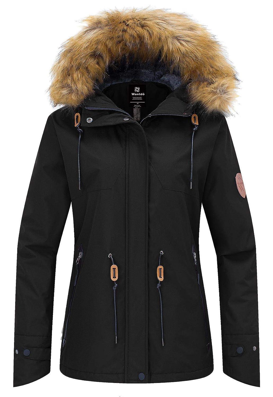 Wantdo Damen Wasserdichte Ski-Jacke mit Fleece-Futter Berg Parka mit Kapuze Winddichtes Raincoat