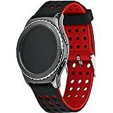 Greatfine silicone alta qualità cinturino dell'orologio per Samsung Galaxy Gear S2 Classic SM-R7320 / Motorola Moto 360 2 42mm Smart Watch Huawei Watch 2 (nero+rosso)