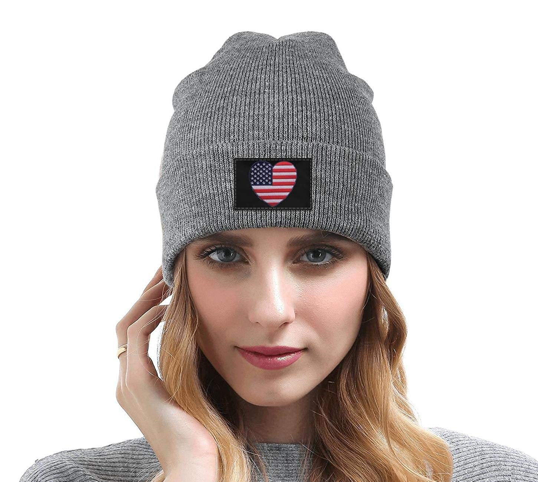 Men Slouchy Beanie Hat Cashmere Hats Big Love American Flag Patch Multifunction Cap