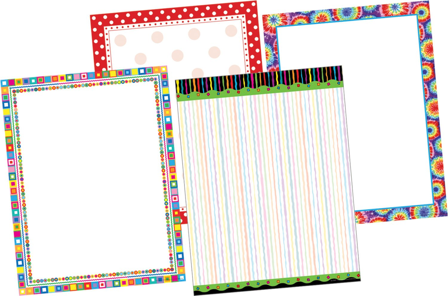 Barker Creek - Office Products In The Groove Designer Computer Paper Set, 50 Each of 4 Designs (SS-0751)