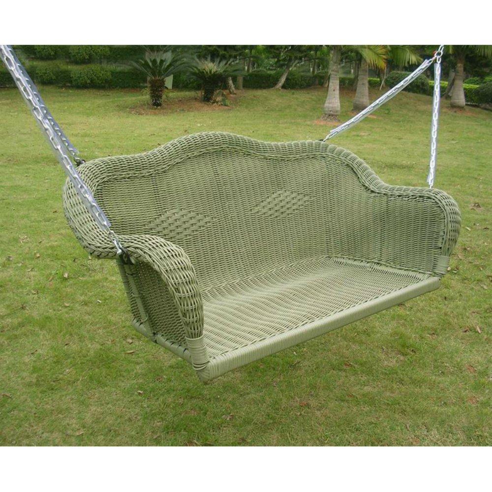 International Caravan 3183-AM-IC Furniture Piece Resin Wicker Hanging Loveseat Swing