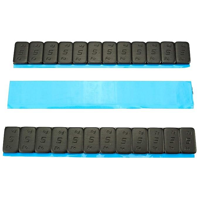 25 Contrapesos NEGRO 12x5g Pesos adhesivos Pesos de acero Tira adhesiva 60g mit BORDE DE CORTE galvanizado & plástico cubierto KG negro 5gx12 1,5kg: ...