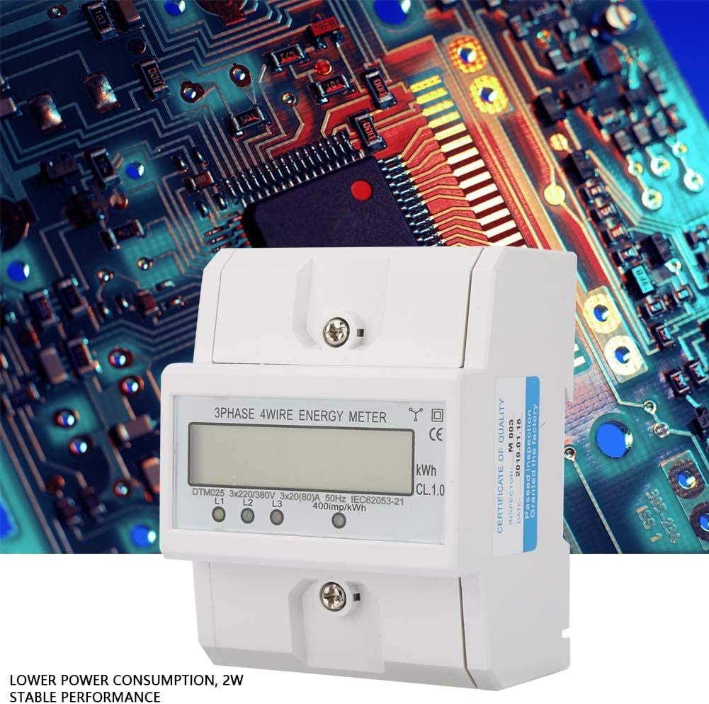 Wosume Electric Power Meter 220//380V 5-80A Energy Consumption Digital Electric Power Meter 3 Phase 4P KWh Meter with LCD