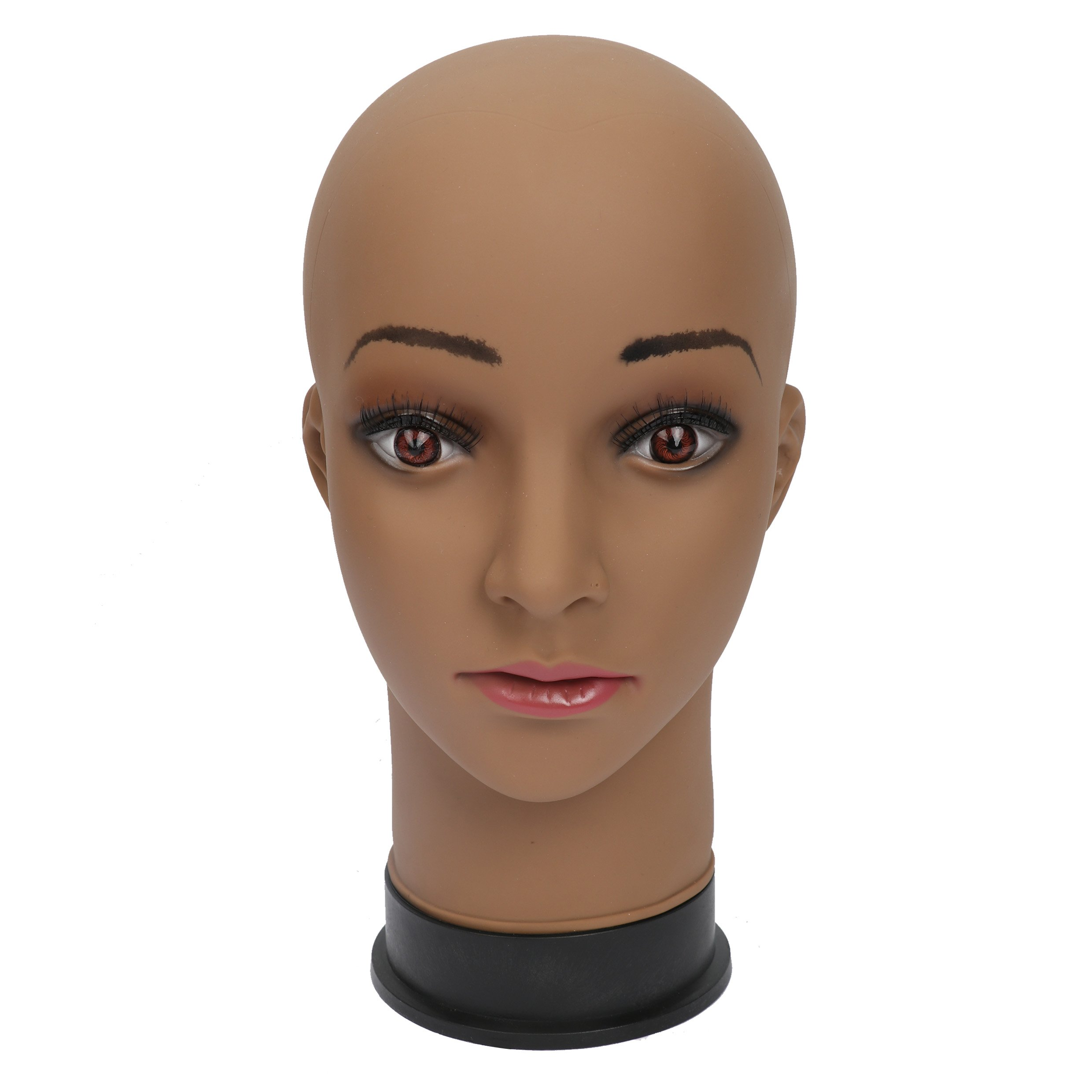 BHD BEAUTY Bald Mannequin Head Brown Female Professional Cosmetology for Wig Making, Display wigs, eyeglasses, hairs with T pins
