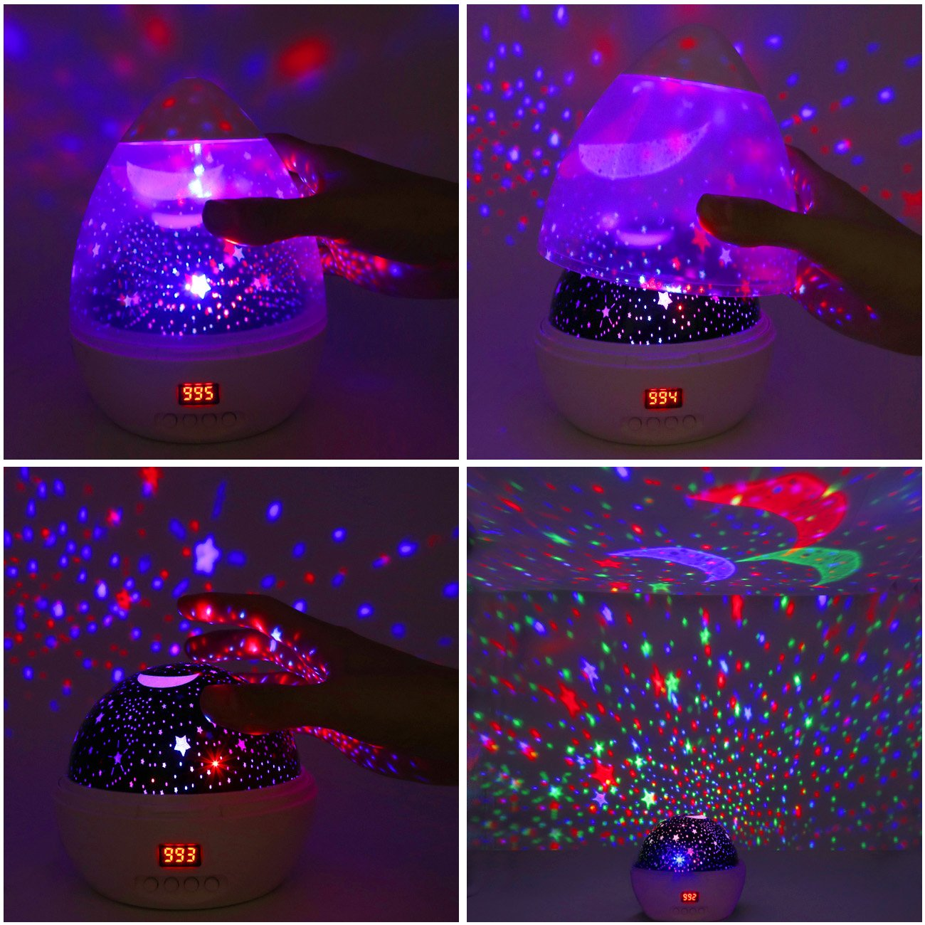 Star Sky Night Lamp,ANTEQI Baby Lights 360 Degree Romantic Room Rotating Cosmos Star Projector with LED Timer Auto-Shut Off for Kid Bedroom,Christmas Gift (White) by ANTEQI (Image #2)