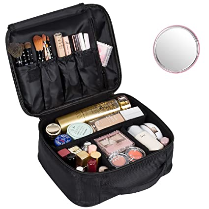 88c448ed23ab Amazon.com  DreamGenius Portable Travel Makeup Bag Makeup Case Organizer  with Large Capacity and Adjustable Dividers  Health   Personal Care