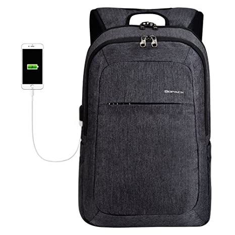 kopack Laptop Backpack Men USB Port Slim Business Computer Backpack  Anti-Theft Water Resistant Travel 05a50454d3917