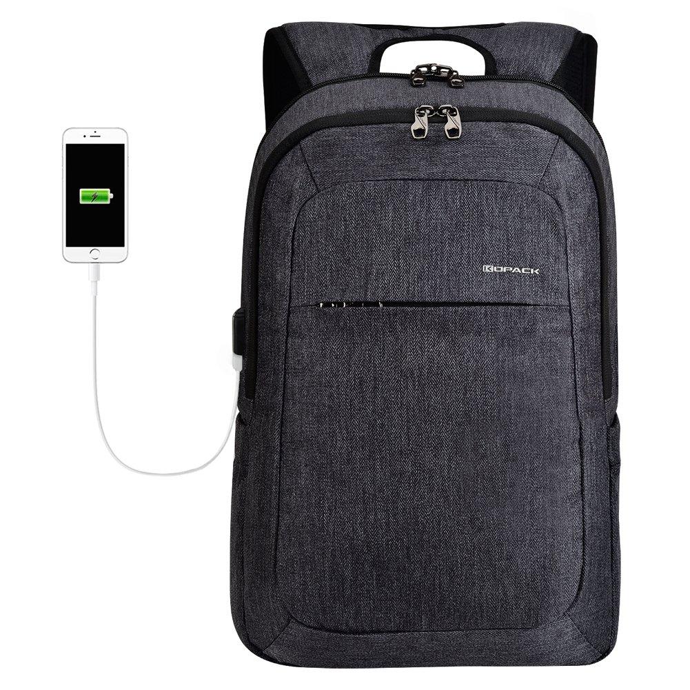 Kopack Laptop Backpack Men USB Port Charger Slim Business Computer Backpack Anti-Theft Water Resistant Travel Laptop Bag Lightweight 15 15.6 inch Gray Black