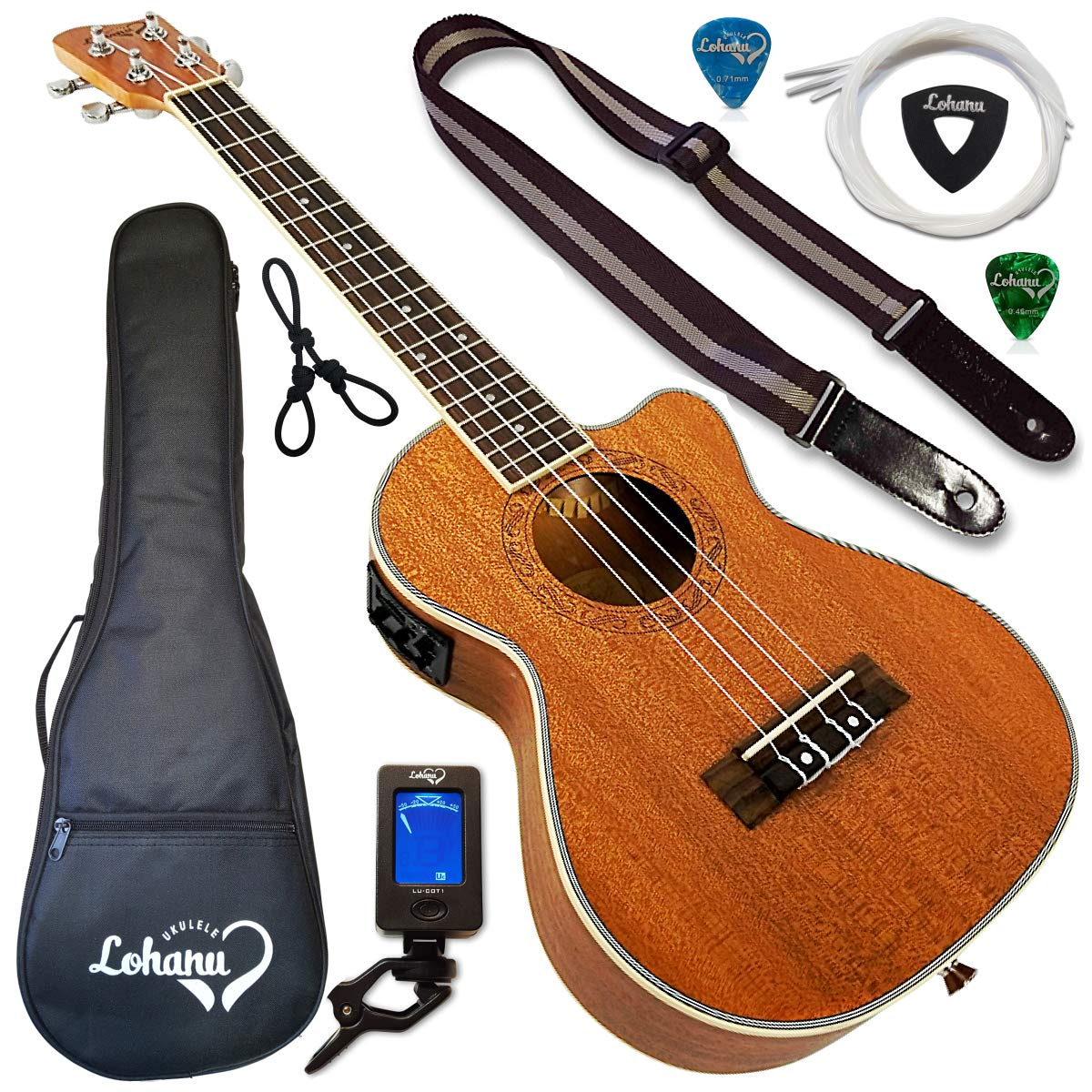 Ukulele from Lohanu Cutaway Electric With 3 Band EQ & Pick Up With All Accessories Included! (Tenor Size)