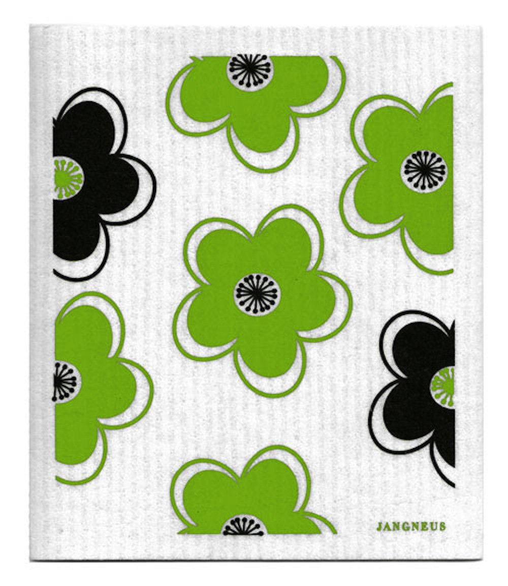 Swedish Dishcloth, Set of 4 (BG) Black & Green Plants Designs by Trendy Tripper (Image #1)