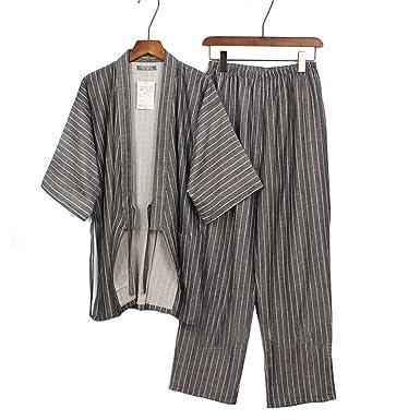 Trajes de Estilo japonés de los Hombres Traje de Pijama de algodón Puro Kimono Bata Set-A1: Amazon.es: Ropa y accesorios