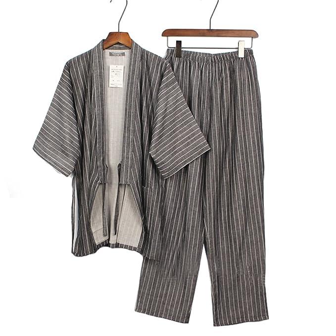 Trajes de Estilo japonés para Hombre Trajes de Pijamas de Kimono Puros Traje de Vestir Set