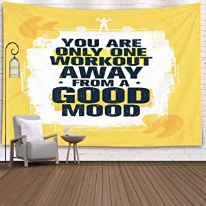 ROOLAYS Tapestry Wall Hanging, Home Art Décor You are Only Workout Away Good Mood Inspiring Fitness Gym Motivation with 80x60 Inches for Living Room Dorm Background Tapestries,Yellow White