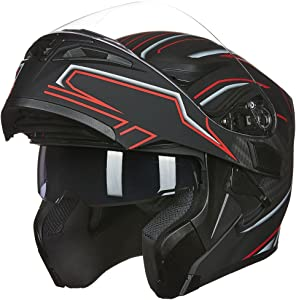 ILM Motorcycle Dual Visor Flip up Modular Full Face Helmet DOT 6 Colors (L, BLACK RED)